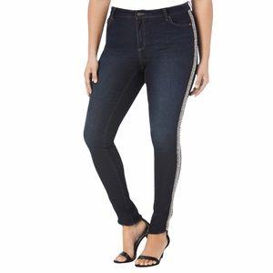 Denim 24/7 embellished stripe skinny denim jeans